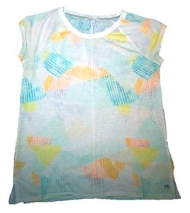 Victoria's Secret T Shirt White/Teal/Yellow/Coral