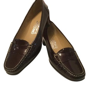 Salvatore Ferragamo All Leather Penny Loafers Italian Brown Patent Pumps