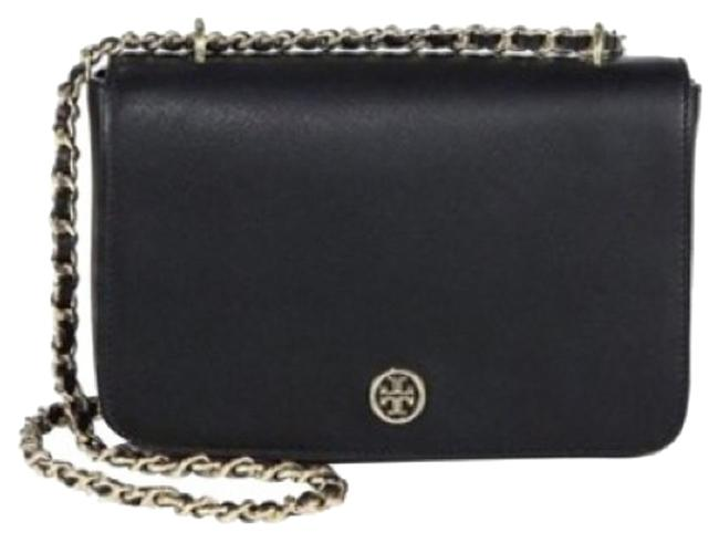 Tory Burch Robinson Adjustable Black Leather Shoulder Bag Tory Burch Robinson Adjustable Black Leather Shoulder Bag Image 1
