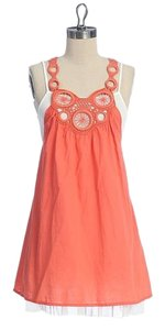 Anthropologie short dress ORANGE Summer Layered Art Deco on Tradesy