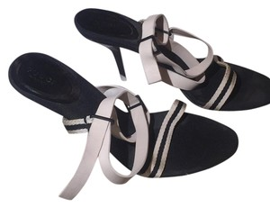 Gucci Black with white leather straps Pumps