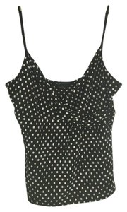 BCBGMAXAZRIA Polka Dot V Neck Top Black White