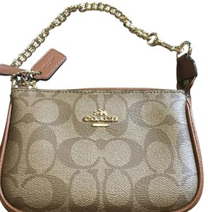 Coach Wristlet in Light Brown And Brown