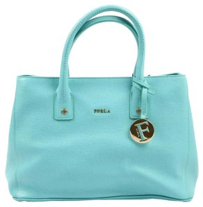 Furla Leather Tote in Blue