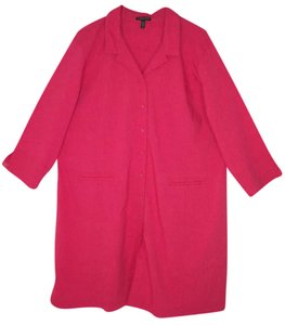 Eileen Fisher Linen Viscose Stretch Duster Pink Coat