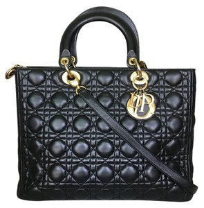 Dior Christian Large Lady Satchel in Black
