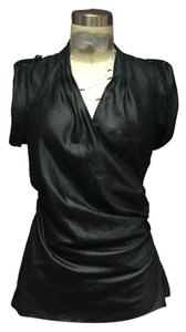 A|X Armani Exchange Wrap Shirt Couture Top Black metallic