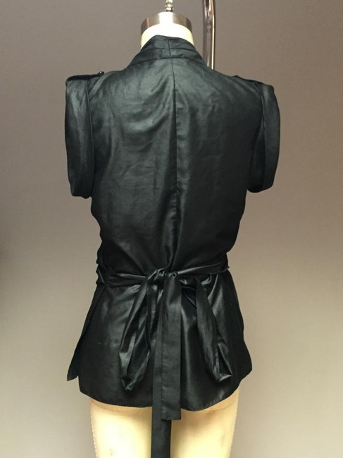 A|X Armani Exchange Wrap Shirt Couture Ruched Waist Wrap Waist Top Black metallic