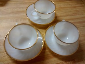Gold Trimmed Fire King Cups And Saucers