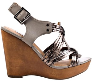Steve Madden Grey Metallic Wedges