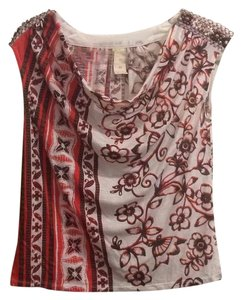 Anthropologie Top White, brown, pink