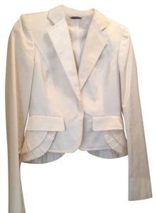 Gucci GUCCI BY TOM FORD SOLID WHITES SETA SILK LONG SLEEVE NO FUR JACKET SIZE 42W