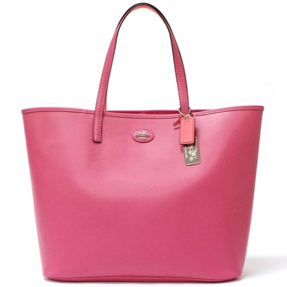 a8142e022f34 Coach City Metro Park In Xlarge Elegant Color 32701 Pink Coral  Silver  Leather Tote