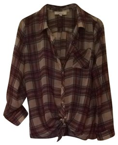 Olive + Oak Sheer Button Down Shirt plaid