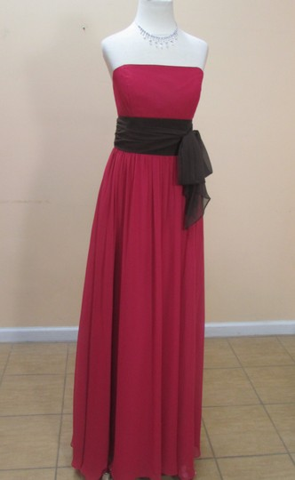 Alfred Angelo Lipstick/Espresso Chiffon 7017 Formal Bridesmaid/Mob Dress Size 10 (M)