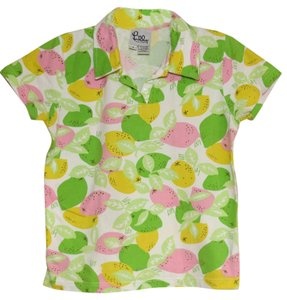 Lilly Pulitzer Resort Shirt Polo Print Limes T Shirt Green