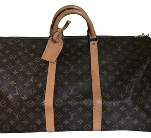 Louis Vuitton Vintage Leather Monogram Lv Brown Travel Bag