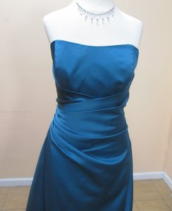 Alfred Angelo Tealness Satin 6493 Formal Bridesmaid/Mob Dress Size 8 (M)