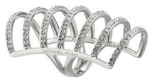 Michael Kors Michael Kors MKJ4426 Women's Silver tone Pave Crystals Cage Ring Size 6 NEW! $145