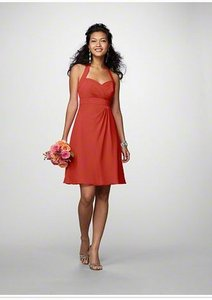 Alfred Angelo Persimmon Chiffon 7172 Formal Bridesmaid/Mob Dress Size 12 (L)