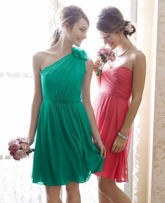 Item - Fresh Leaf (Green) Silk One Shoulder Feminine Bridesmaid/Mob Dress Size Petite 2 (XS)