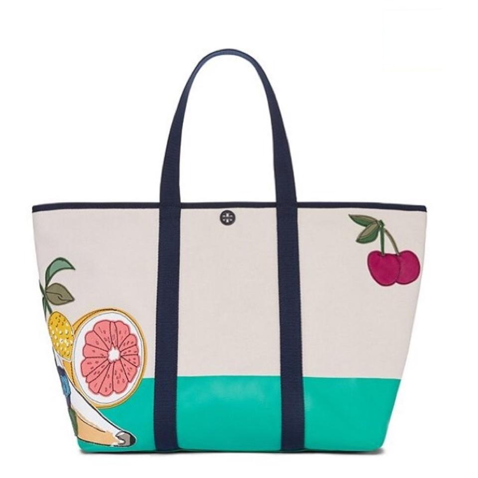 78441d2f59e Tory Burch Embroidered Penn Fruit Applique Large Canvas Tote - Tradesy