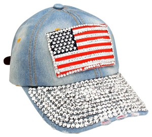USA American Flag Bling Bling Crystal Distressed Denim Baseball Cap Hat