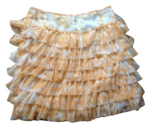 Banana Republic Chiffon Tiered Skirt Yellow and white