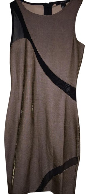 Item - Gold/Black Mid-length Night Out Dress Size 4 (S)