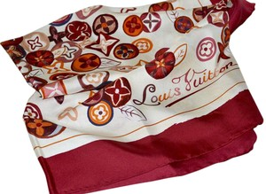 Louis Vuitton Louis Vuitton LV Monogram Silk Scarf Italy Red Multi Print 34