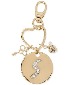 Betsey Johnson gilded key fob, marked by a crystal-embellished initial S