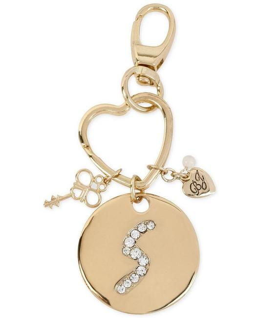 Betsey Johnson Gold Gilded Key Fob Marked By A Crystal-embellished Initial S Betsey Johnson Gold Gilded Key Fob Marked By A Crystal-embellished Initial S Image 1