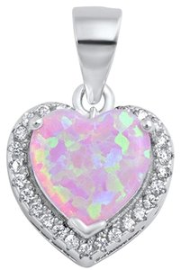 9.2.5 pink fire opal and white topaz heart pendant with free chain.