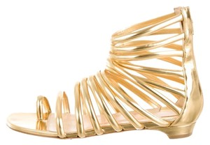 Christian Louboutin Metallic Strappy Ankle Strap Gold Sandals