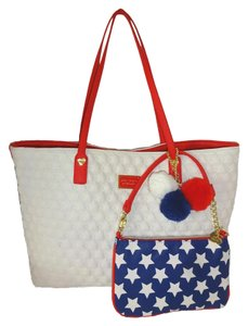 Betsey Johnson Red Trim Swag Quilting Pom Poms Tote in bone