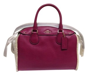 Coach Stylish Leather Handle Strap Satchel in Pink