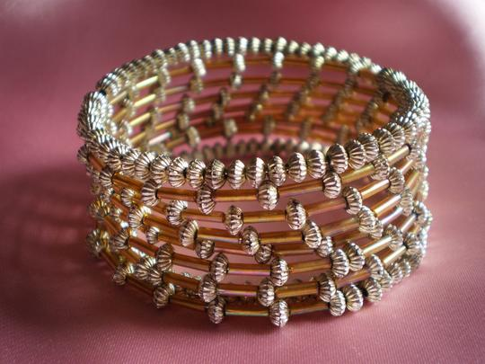 Unknown Like new Gold & bugle beads bracelet