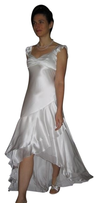 """Item - White Silk Charmeuse """"Lola"""" Gown High-low Formal Dress Size 8 (M)"""