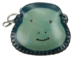 Unknown Two-Tone Green Leather Monkey Coin Purse with Key