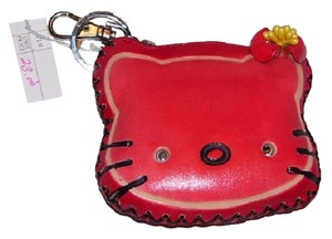 Other Leather Key Fob Zipper Closure New red Clutch
