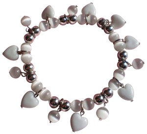 Unknown Silver & white hearts charm bracelet