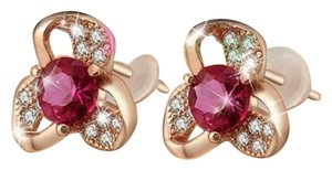 Other New 14K Rose Gold Flower Stud Earrings Pink Cubic Zirconia J2593