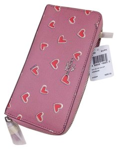 Coach COACH ACCORDION ZIP WALLET IN HEART PRINT COATED CANVAS NWT No 53885