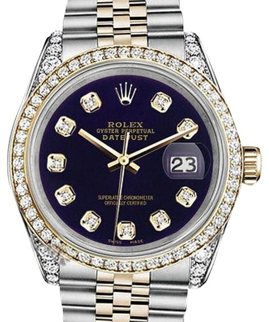 Rolex Stainless Steel and Gold Mm Datejust Purple Diamond Dial Watch Rolex Stainless Steel and Gold Mm Datejust Purple Diamond Dial Watch Image 1
