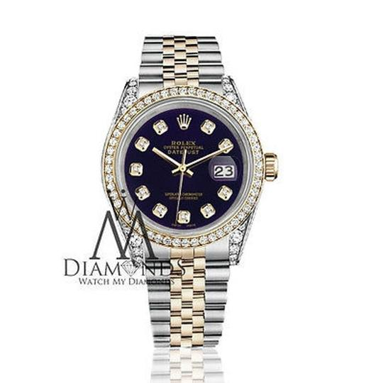 Rolex Stainless Steel And Gold Mm Datejust Watch Purple Diamond Dial Image 1