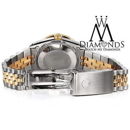 Rolex Stainless Steel And Gold Mm Datejust Watch Purple Diamond Dial Image 4
