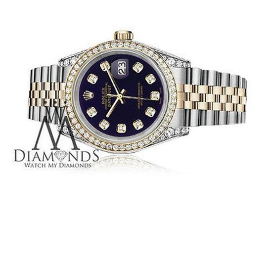 Rolex Stainless Steel And Gold Mm Datejust Watch Purple Diamond Dial Image 7