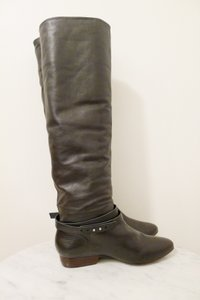 Pour La Victoire Knee High Tall Almond Toe Leather CHOCOLATE BROWN Boots