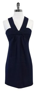 Magaschoni short dress Navy Criss Cross Back Silk on Tradesy
