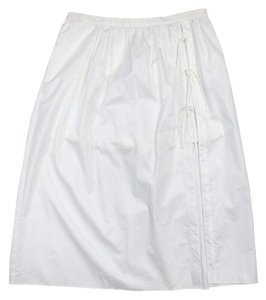 Tibi White Midi Cotton Wrap Skirt